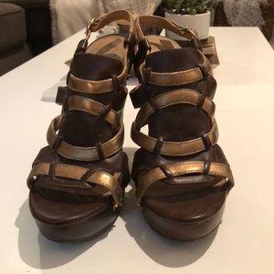 Chunky Gold & Brown heels